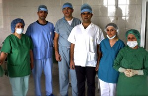 Dr. Kotikian (third from left) with Dr. Alexi Eyvazi of LA (second from left) and Dr. Sasun Vahanyan of Stepanakert along with nurses. Sara Anjargolian